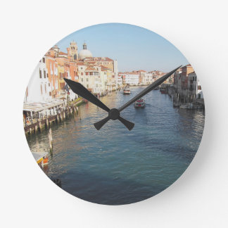 View of famous Grand Canal in Venice, Italy Round Clock