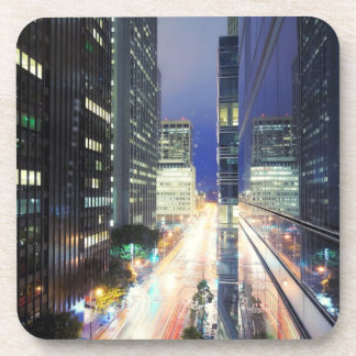 View of financial district office buildings beverage coaster