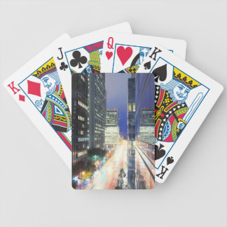 View of financial district office buildings bicycle playing cards