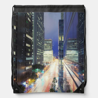 View of financial district office buildings drawstring backpack
