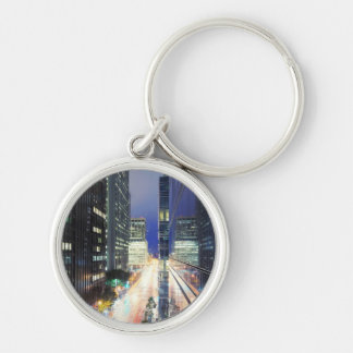 View of financial district office buildings keychain