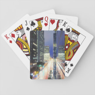 View of financial district office buildings playing cards