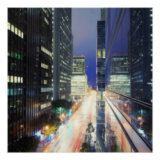 View of financial district office buildings poster