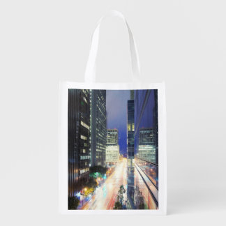 View of financial district office buildings reusable grocery bag