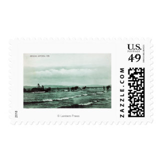View of Fishermen Seine Fishing, Horse Carts Stamps