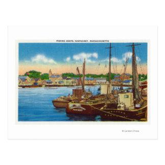 View of Fishing Boats at Harbor Postcard