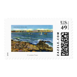 View of Fishing Boats from York Beach Stamps