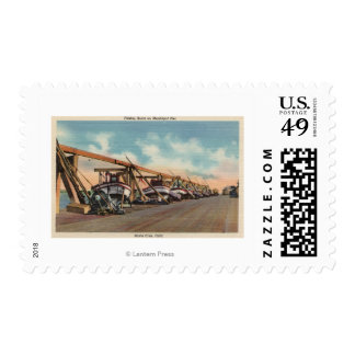 View of Fishing Boats on Municipal Pier Stamp