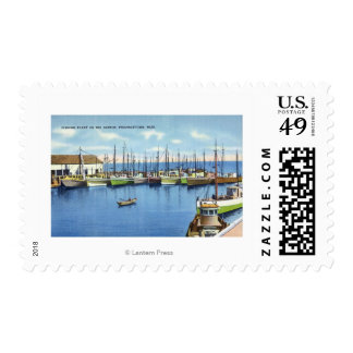 View of Fishing Fleet in the Harbor Postage