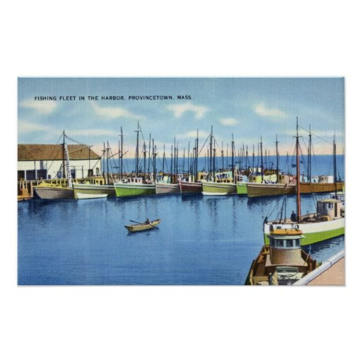 View of Fishing Fleet in the Harbor Poster