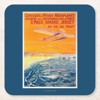 View of Float Planes in Air and Water Poster Square Paper Coaster