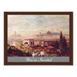View Of Florence By Oswald Achenbach (Best Quality Custom Invitations