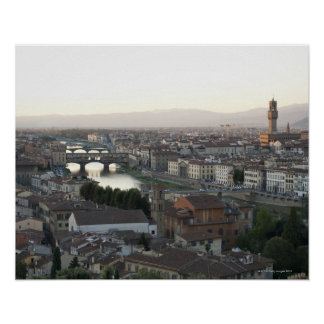 view of Florence from overlook of city showing Poster