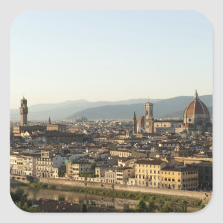 view of florence with Arno River, Duomo, Ponte Square Sticker