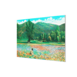 View of Flowering Field Canvas Print