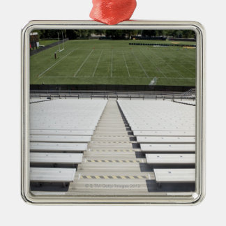 View of football field from empty bleachers metal ornament
