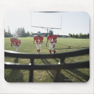 View of football players and field from inside mouse pad