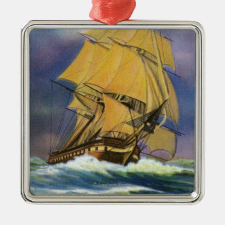 View of Frigate Constitution, Old Ironsides Metal Ornament