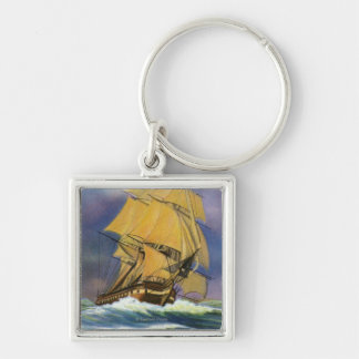 View of Frigate Constitution, Old Ironsides Silver-Colored Square Keychain