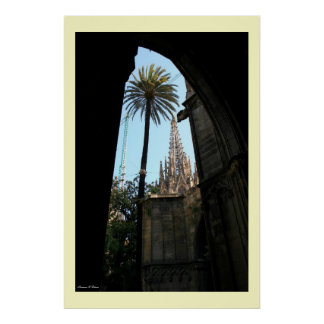 View of Gaudi's Cathedral Poster