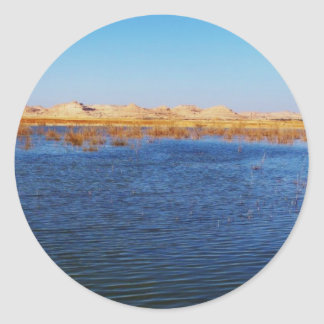 View of Gebel al-Dakrur Siwa Oasis in Egypt Classic Round Sticker
