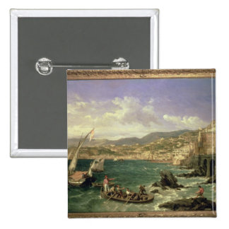 View of Genoa, 1854 (oil on canvas) Pinback Button