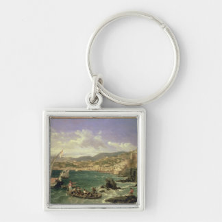 View of Genoa, 1854 (oil on canvas) Silver-Colored Square Keychain