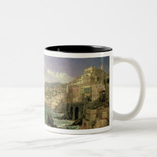 View of Genoa, 1854 (oil on canvas) Two-Tone Coffee Mug