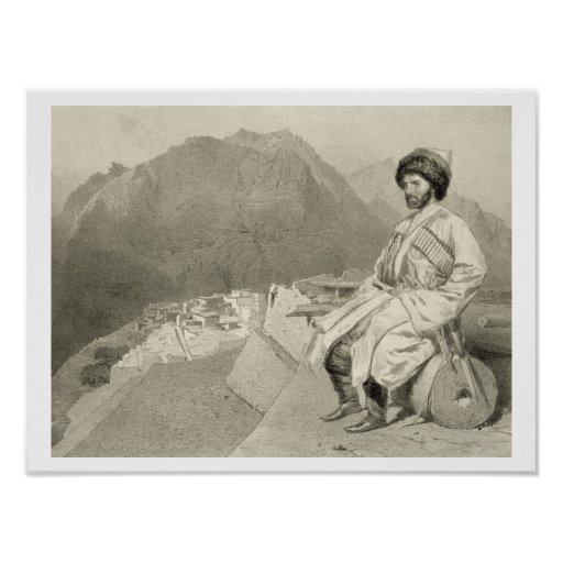View of Ghimri and Portrait of Hadji-Mourad, plate Poster