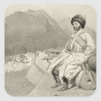 View of Ghimri and Portrait of Hadji-Mourad, plate Square Sticker