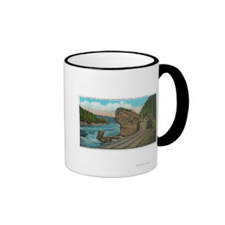 View of Giant Rock and Trolley Line through Coffee Mug