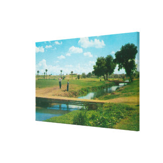 View of Golfer Hitting Ball Canvas Print