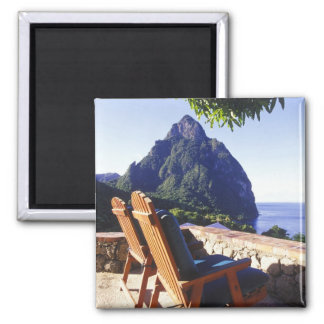 View of Gros Piton from Stonefield Estate Villa 2 Inch Square Magnet