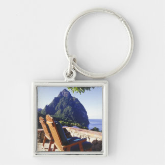 View of Gros Piton from Stonefield Estate Villa Keychain