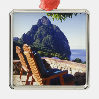 View of Gros Piton from Stonefield Estate Villa Square Metal Christmas Ornament