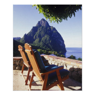 View of Gros Piton from Stonefield Estate Villa Poster