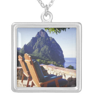 View of Gros Piton from Stonefield Estate Villa Silver Plated Necklace