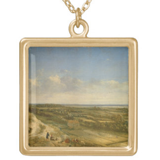 View of Haarlem from the Dunes (oil on canvas) Square Pendant Necklace