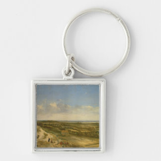 View of Haarlem from the Dunes (oil on canvas) Silver-Colored Square Keychain