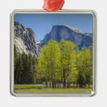 View of Half Dome Square Metal Christmas Ornament