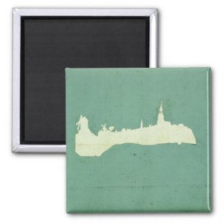 View of Hamburg 2 Inch Square Magnet