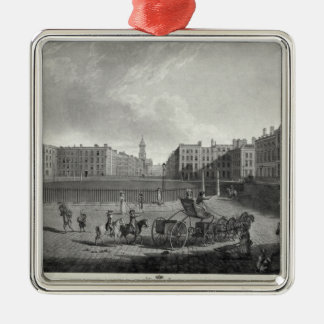View of Hanover Square, engraved by Robert Pollard Square Metal Christmas Ornament