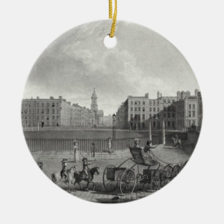 View of Hanover Square, engraved by Robert Pollard Double-Sided Ceramic Round Christmas Ornament
