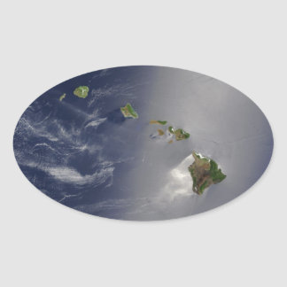 View of Hawaii from Space Oval Sticker