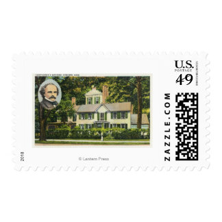 View of Hawthorne's Wayside Residence Postage