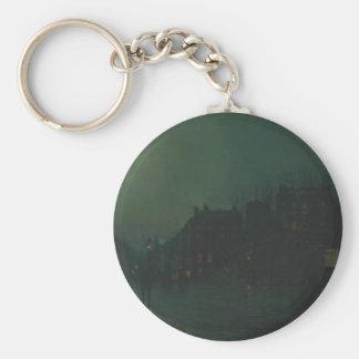 View of Heath Street by Night by John Atkinson Basic Round Button Keychain