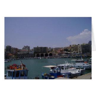 View of Heraklion, Crete seaport Greeting Card