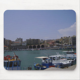 View of Heraklion, Crete seaport Mouse Pads