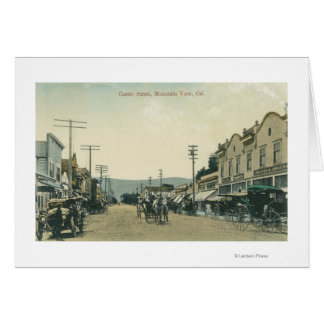 View of Horse Carriages on Castro Street Card