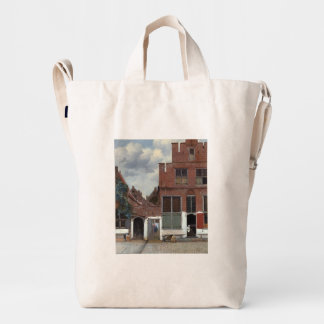 View of houses in Delft by Johannes Vermeer Duck Bag